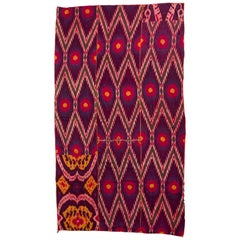Late 19th Century Uzbekistan Tribal Silk Ikat Panel