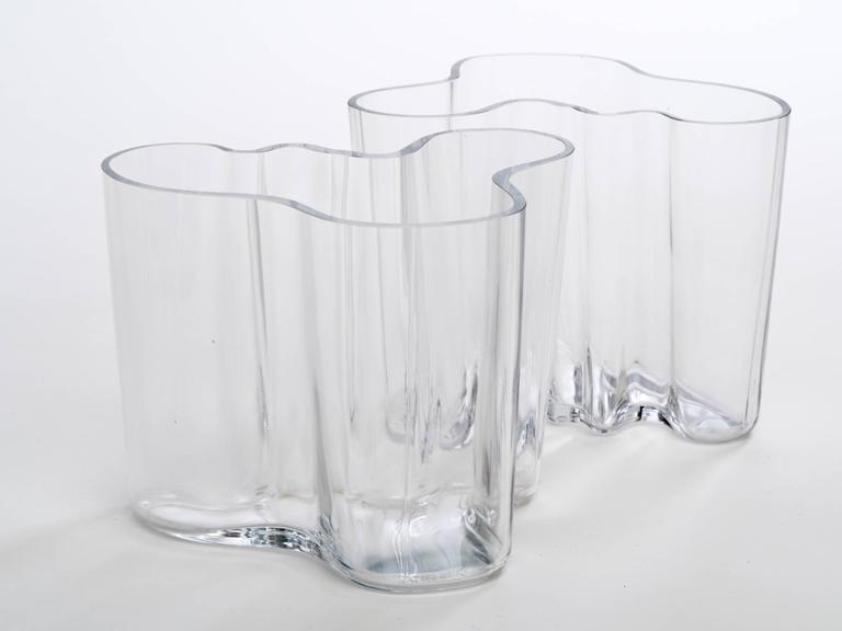 Pair Of Alvar Aalto Clear Glass Amorphic Savoy Vases At 1stdibs