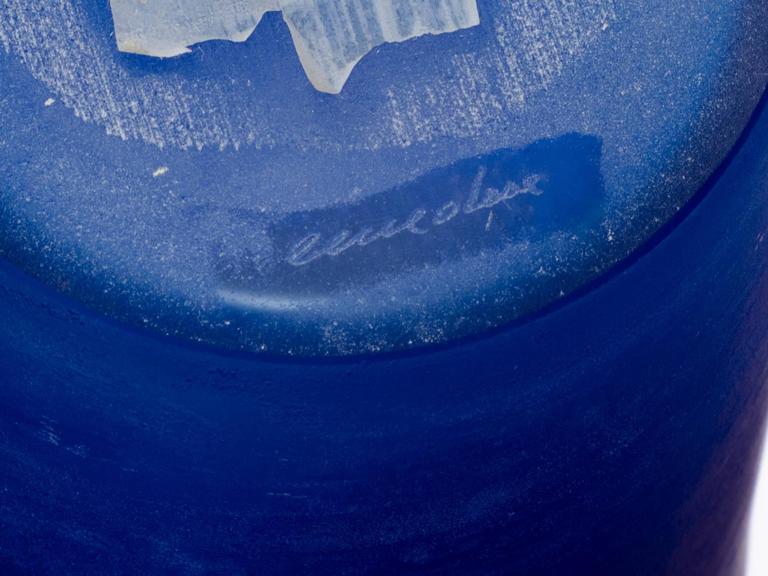 Cenedese Cobalt Blue Italian Glass Vase For Sale 2