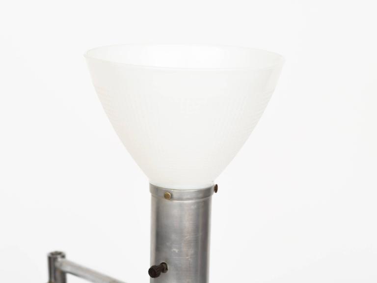 Walter Von Nessen Style Brushed Aluminium Swing Arm Floor Lamp 6
