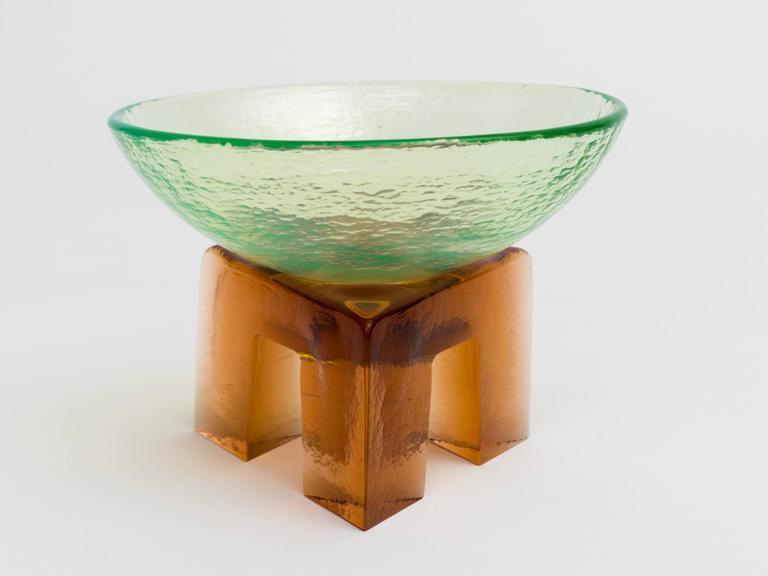 Unknown Memphis Style Art Glass Elemental Bowl Sculpture For Sale