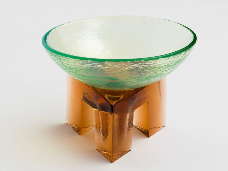 Molded Memphis Style Art Glass Elemental Bowl Sculpture For Sale