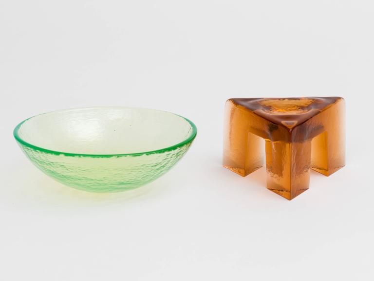 Contemporary Memphis Style Art Glass Elemental Bowl Sculpture For Sale