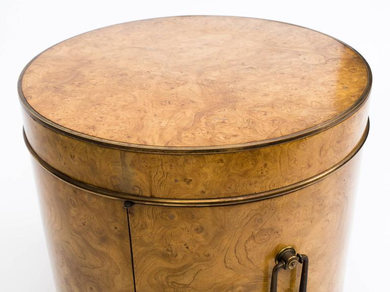 20th Century Mastercraft Burl Wood Drum Bar Cabinet End Table For Sale