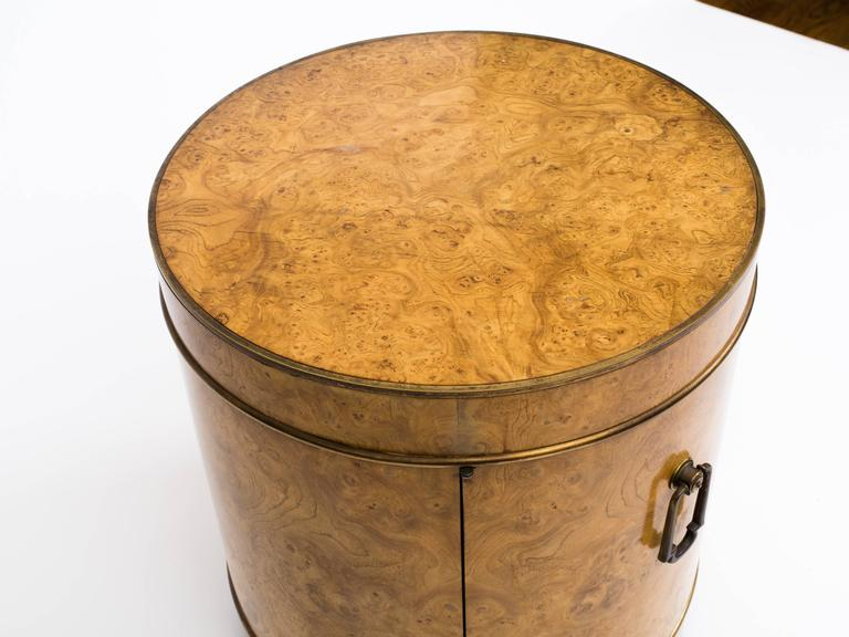 Mastercraft Burl Wood Drum Bar Cabinet End Table For Sale 1