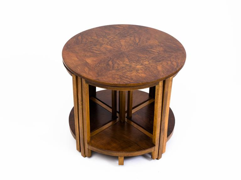 Donald deskey style walnut nesting side tables for sale at