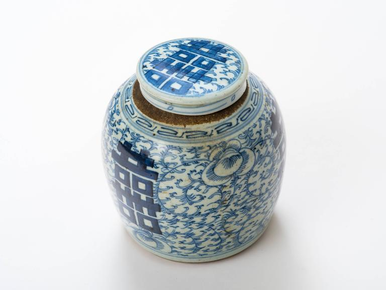 Chinoiserie Chinese 19th Century Blue and White Ginger Jar For Sale