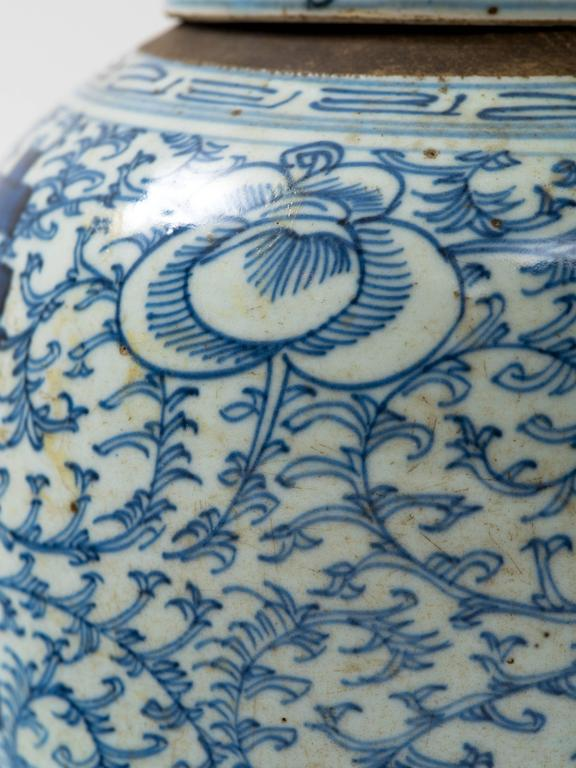 Ceramic Chinese 19th Century Blue and White Ginger Jar For Sale