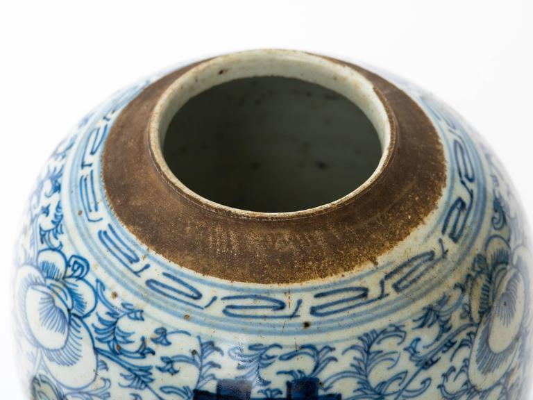 Chinese 19th Century Blue and White Ginger Jar For Sale 1