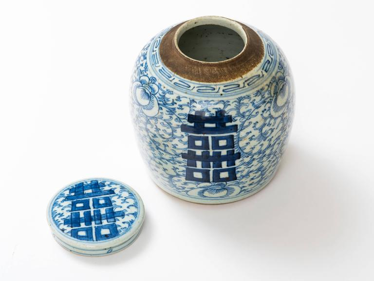 Chinese 19th Century Blue and White Ginger Jar For Sale 3