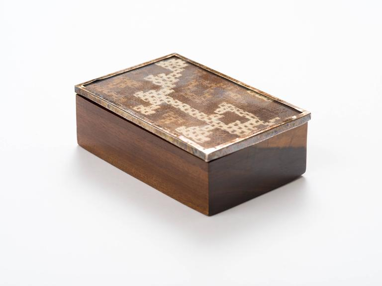 Hand-Carved Peruvian Nazca Textile Exotic Wood Box For Sale