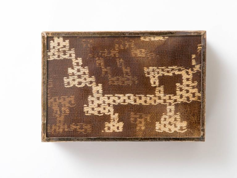Tribal Peruvian Nazca Textile Exotic Wood Box For Sale