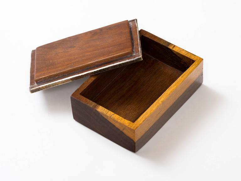 Peruvian Nazca Textile Exotic Wood Box For Sale 1