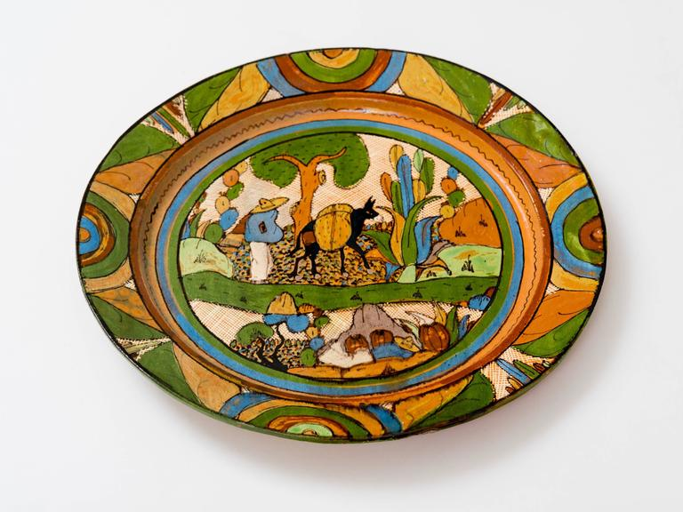 Tlaquepaque 1930s Mexican Hand Painted Ceramic Charger