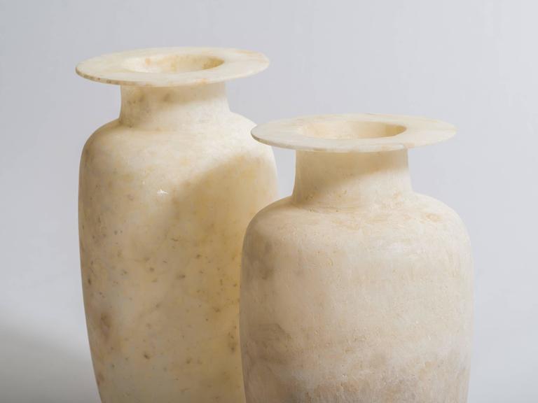Pair Of Egyptian Alabaster Wide Rimmed Urn Vases For Sale At 1stdibs