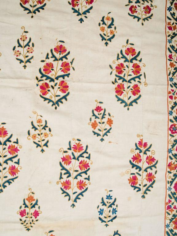19th Century Uzbek Silk Embroidered Suzani Tapestry For Sale 3