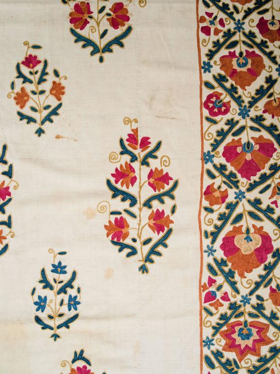 19th Century Uzbek Silk Embroidered Suzani Tapestry For Sale 2