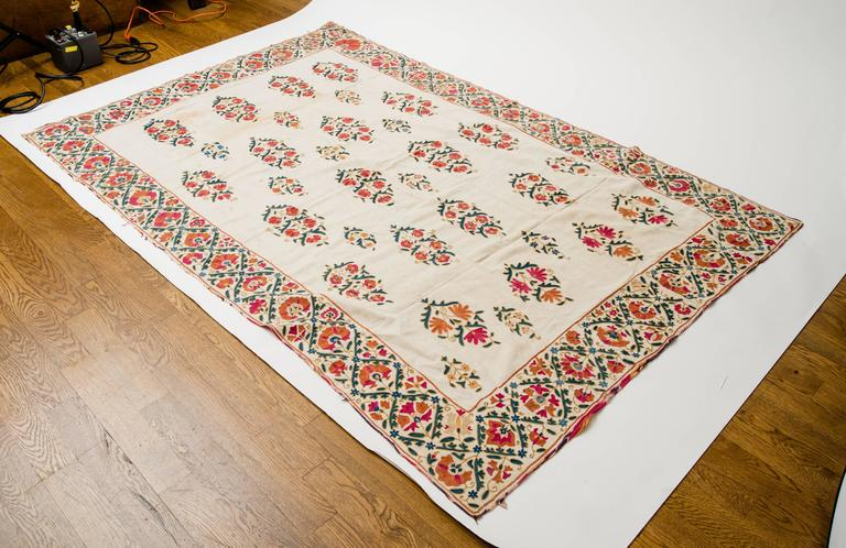 19th Century Uzbek Silk Embroidered Suzani Tapestry For Sale 5