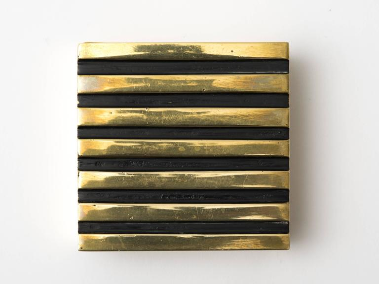 Austrian lacquered brass square box with patinated stripe lid, Austria, circa 1950.