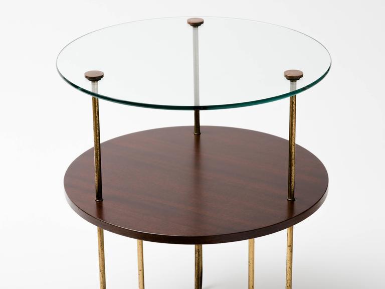 Machine Age Art Deco Walnut Copper and Glass Gueridon For Sale
