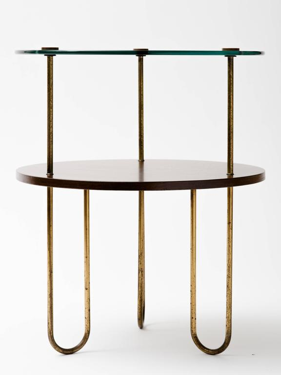Plated Art Deco Walnut Copper and Glass Gueridon For Sale