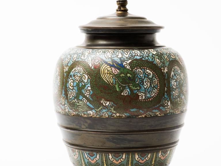 Cloissoné Bronze Champlevé Dragon Cloisonné Lamp For Sale
