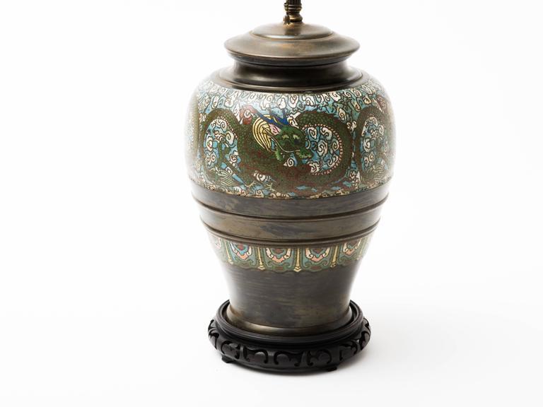 Bronze Champlevé Dragon Cloisonné Lamp For Sale 1