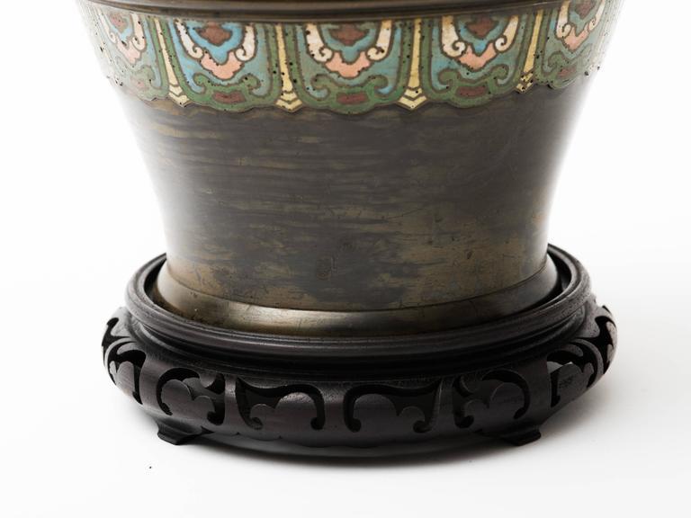 20th Century Bronze Champlevé Dragon Cloisonné Lamp For Sale