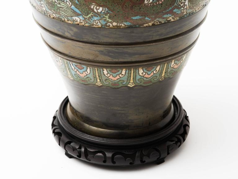 Bronze Champlevé Dragon Cloisonné Lamp In Good Condition For Sale In New York, NY
