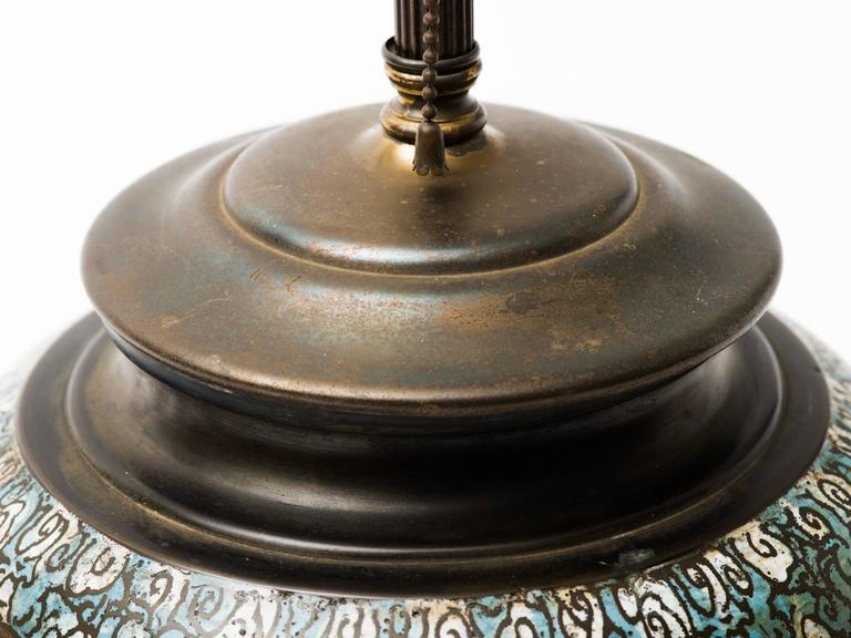 Asian Bronze Champlevé Dragon Cloisonné Lamp For Sale