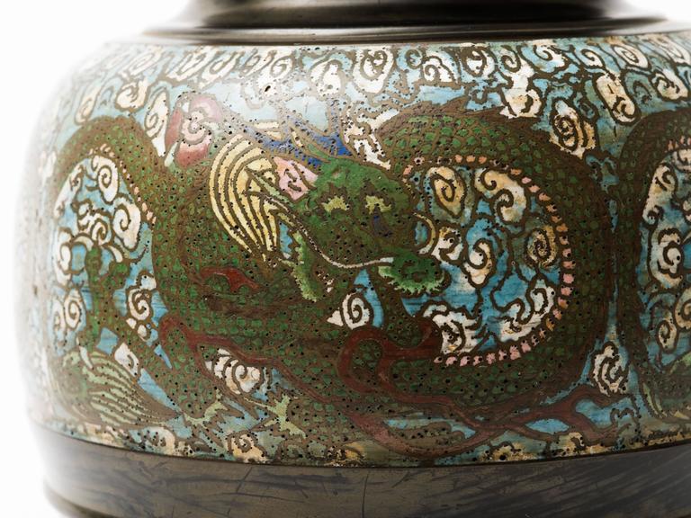 Chinoiserie Bronze Champlevé Dragon Cloisonné Lamp For Sale