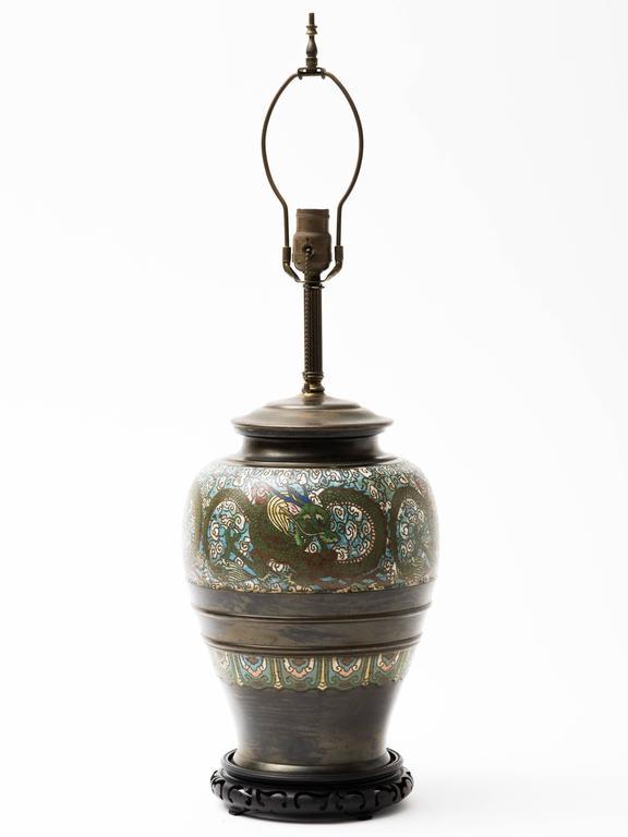 Bronze Champlevé Dragon Cloisonné Lamp For Sale 2
