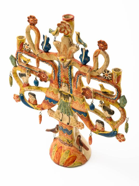 Aurelio Flores Mexican Tree of Life Candelabra 3