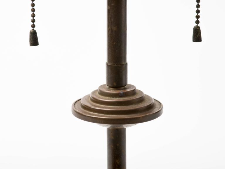 American Machine Age Patinated Brass Skyscraper Lamp For Sale
