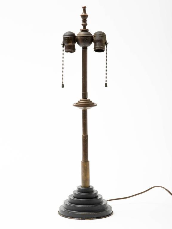 Machine Age Patinated Brass Skyscraper Lamp For Sale 1