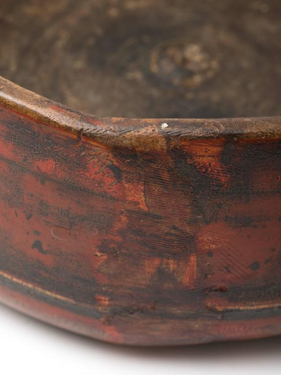 Antique Asian Red Lacquered Wood Bowl For Sale At 1stdibs