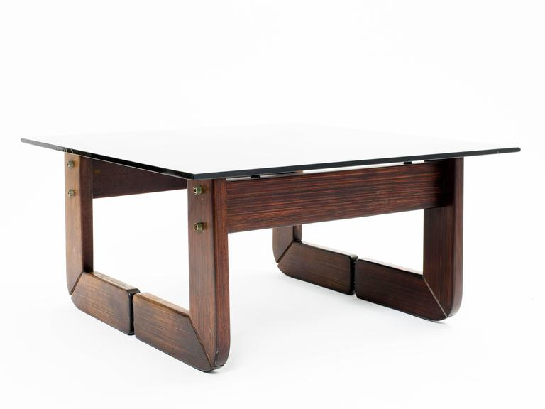 Mid-Century Modern Brazilian Rosewood and Smoke Glass End Tables For Sale