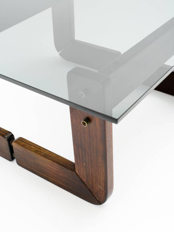 Carved Brazilian Rosewood and Smoke Glass End Tables For Sale