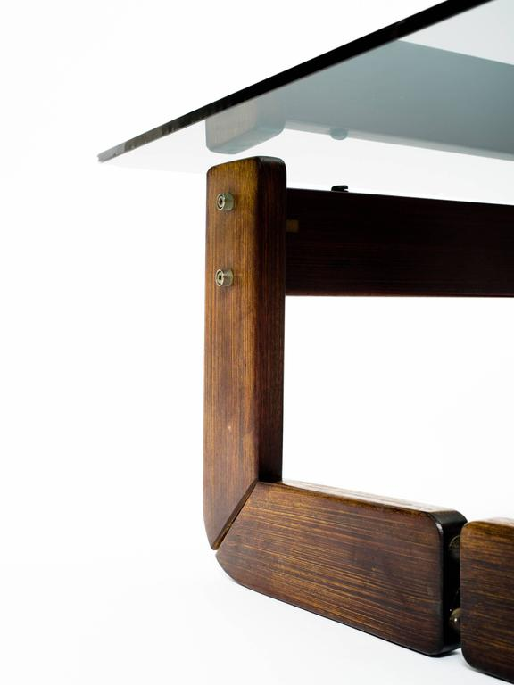 Brazilian Rosewood and Smoke Glass End Tables In Good Condition For Sale In New York, NY