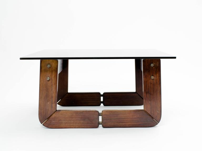 20th Century Brazilian Rosewood and Smoke Glass End Tables For Sale