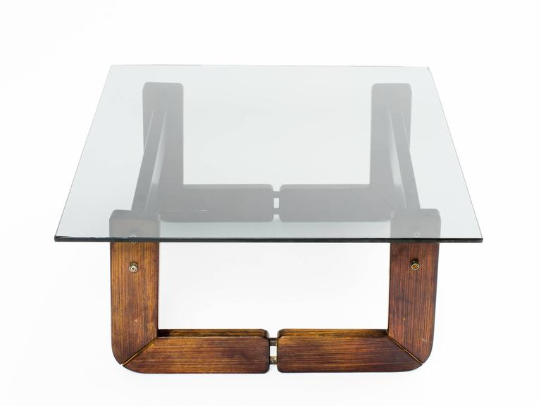 Brazilian Rosewood and Smoke Glass End Tables For Sale 1