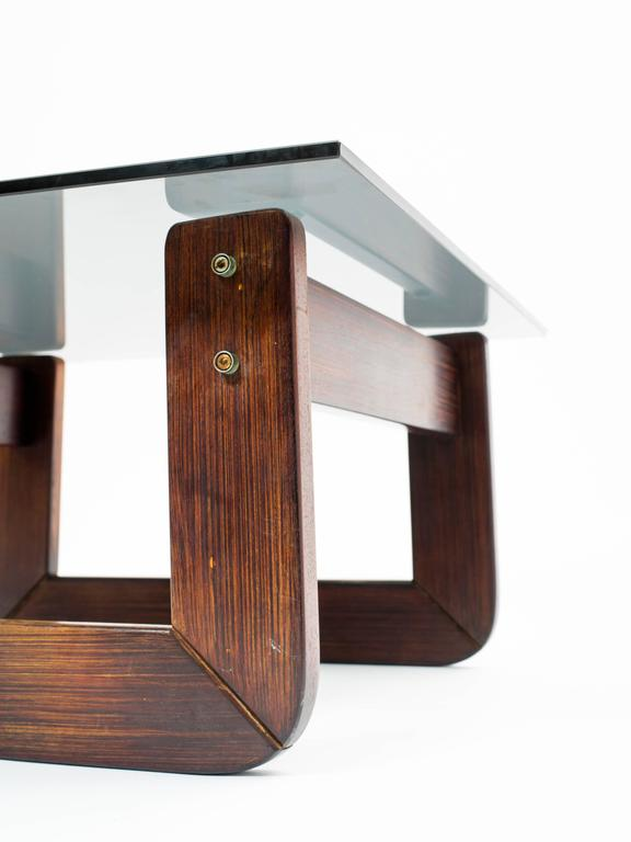 Brazilian Rosewood and Smoke Glass End Tables For Sale 2