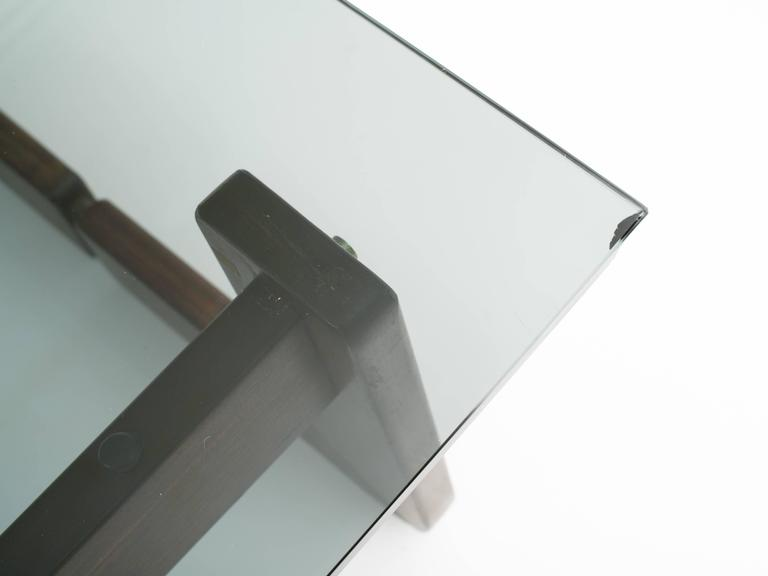 Brazilian Rosewood and Smoke Glass End Tables For Sale 3