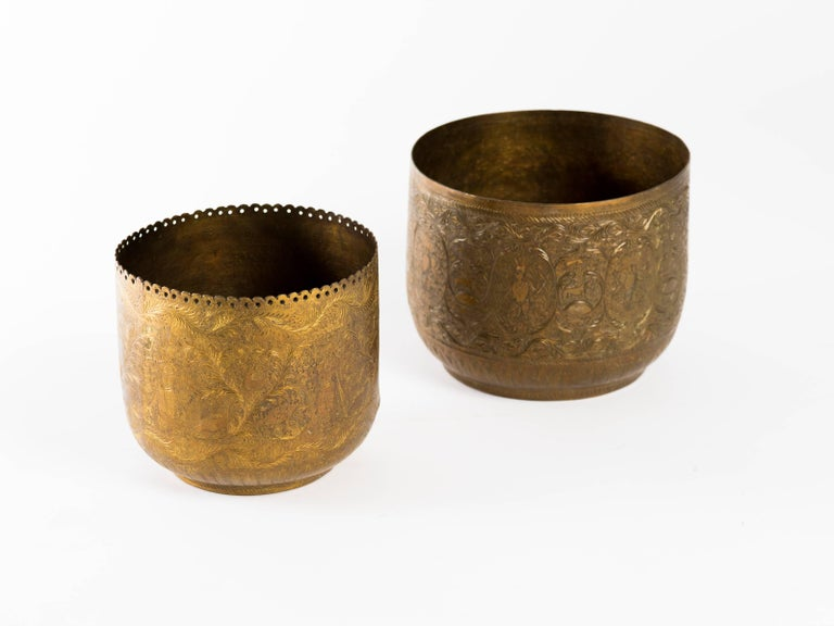 Hand-Crafted Antique Indian Engraved Brass Jardiniere Vessels For Sale