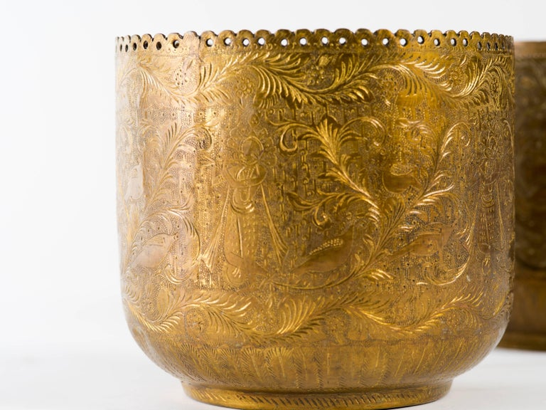 Hand-Crafted Antique Indian Engraved Brass Jardiniere Vessel For Sale