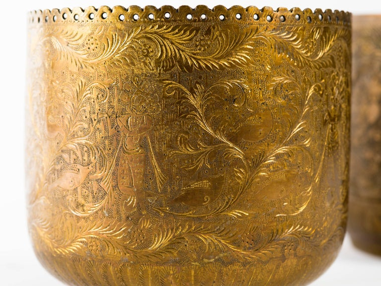Anglo-Indian Antique Indian Engraved Brass Jardiniere Vessels For Sale