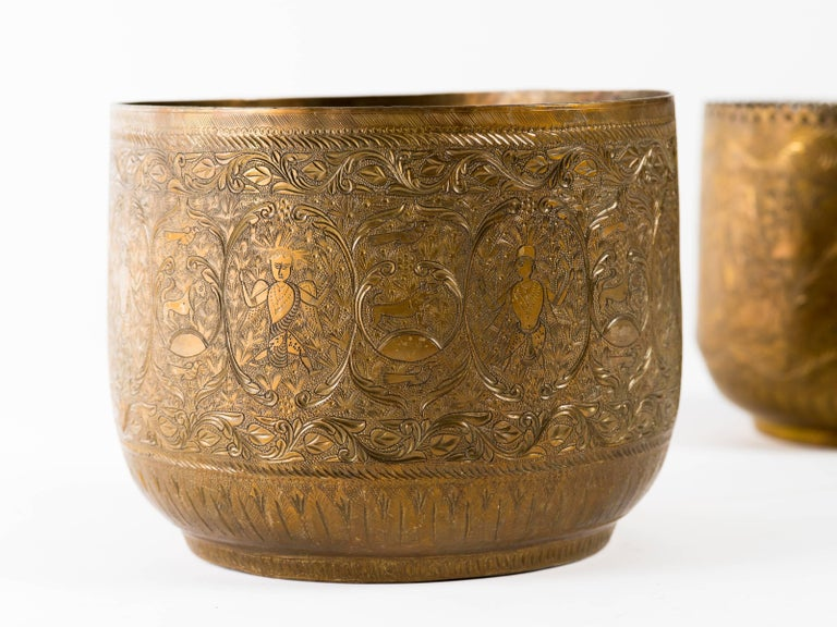 Antique Indian Engraved Brass Jardiniere Vessels For Sale 1
