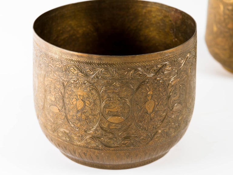 Antique Indian Engraved Brass Jardiniere Vessels For Sale 2