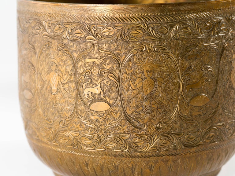 Antique Indian Engraved Brass Jardiniere Vessels For Sale 3