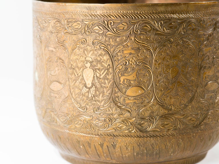 Antique Indian Engraved Brass Jardiniere Vessels For Sale 4
